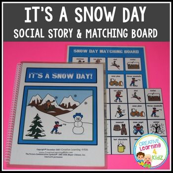 It's a Snow Day Social Story + Matching BoardThis social story talks about having to miss school due to bad winter weather and things you can do on a snow day.Book has 13 pages and is 8 1/2 x 11.This item would be great for any child especially those with Autism, Asperger's, PDD-POS, Speech Delay, etc...The purchaser is granted permission to download and print this item for non-commercial individual or single classroom use only.