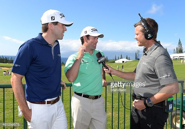 Ben Martin and Robert Streb are interviewed for a broadcast by Golf Channel announcer Todd Lewis after play during the first round of the Hyundai Tournament of Champions at Plantation Course at Kapalua on January 9, 2015 in Kapalua, Maui, Hawaii.