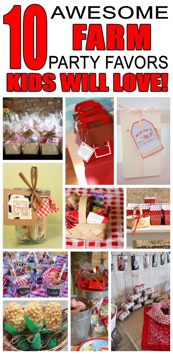 Great farm party favors kids will love. Fun and cool farm birthday party favor ideas for children. Easy goody bags, treat bags, gifts and more for boys and girls. Get the best farm birthday party favors any child would love to take home. Loot bags, loot boxes, goodie bags, candy and more for farm party celebrations.