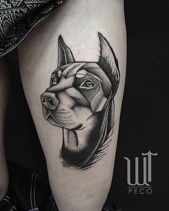Doberman head tattooed by @peco_wolftown 😎 For an appointment write to peco@wolftown.eu!!
