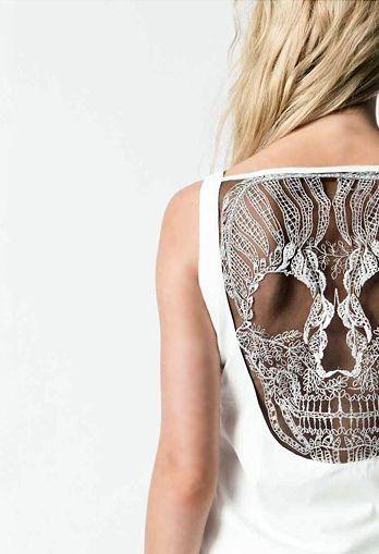 skulls skulls skulls: Cutouts, Laceback, Skulls Shirts, Skulls Dresses, Styles, Skulls Tanks, Lace Back, Lace Skulls, Cut Outs
