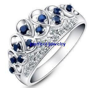 Envío gratuito de anillo de la corona, el anillo de zafiro, zafiro natural 925 anillos de plata, con circones, perfecto de la joyería joyería de moda