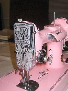 Pink Sewing Machine, Pink Scrolls, Pink Singer, Vintage Pink, Scrolls Singer, Singer Featherweight, Vintage Sewing Machine, Pink Featherweight, ...