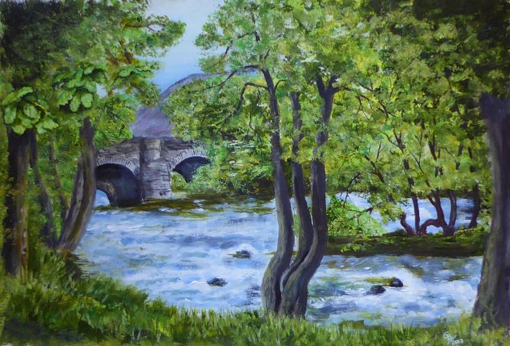 Skelwith Bridge, Lake District; Acrylic by Gorica Bulcock
