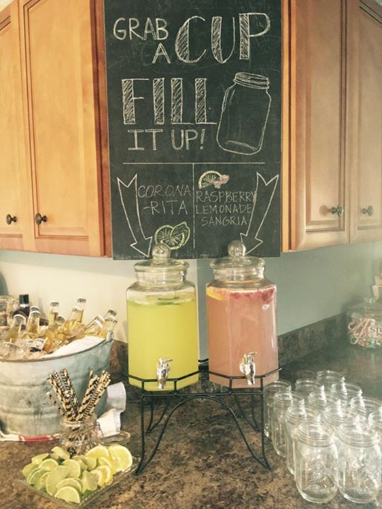Drink station chalkboard for a stock the bar wedding shower