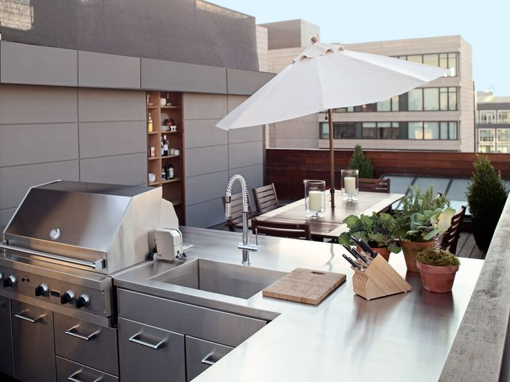 An urban outdoor kitchen Terrazas Pinterest Storage - offene k che restaurant