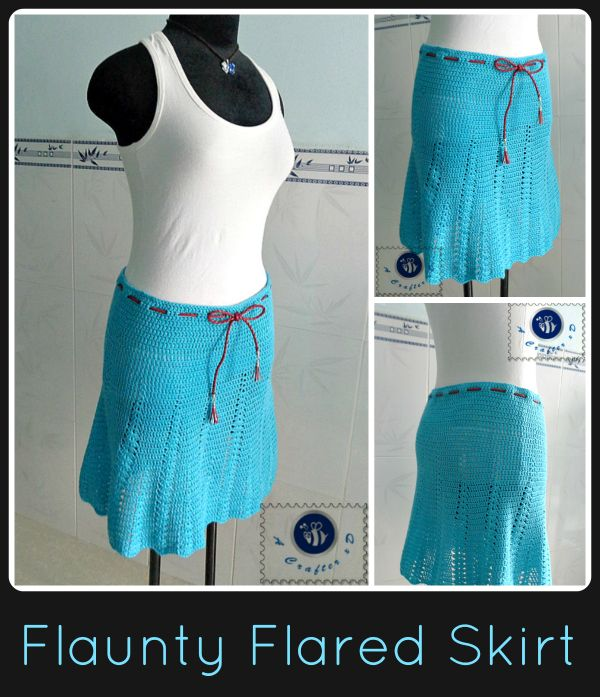 Free Crochet Pattern: Flaunty Flared Skirt. Size XL Fits 43-45 Inch Hips. From http://beacrafter.com/crochet-flaunty-flared-skirt/