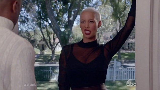 How to be a bad-ish! Amber Rose wears VERY revealing dress playing Charlie's ex-flame Dominique in episode of Black-ish.