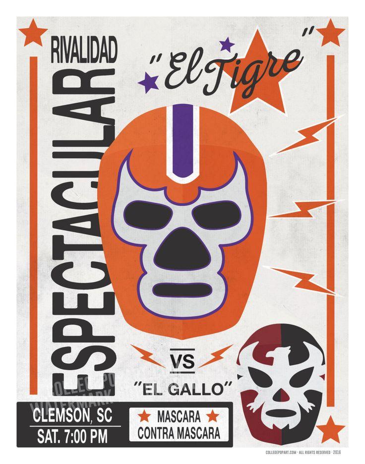 Clemson Tigers El Tigre Luchador Mask Print