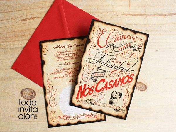 Invitaciones de boda originales y muy vintage para tu boda de Todoinvitacion. Diseños de invitaciones de boda originales y muy muy modernos