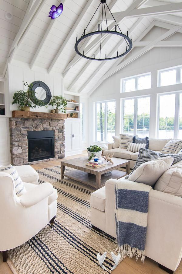 Lake House Blue And White Living Room Decor The Lilypad Cottage Dekorasyon In 2020 Blue And White Living Room White Living Room Decor Coastal Decorating Living Room
