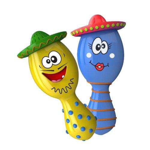 Ce duo de maracas initie l'enfant à la découverte de nouveaux sons et de rythmes musicaux. L'enfant secoue la maraca bleue pour écouter le son de billes. Puis il secoue la maraca jaune qui laisse échapper un son musical rythmé. Lorsqu'il appuie sur le chapeau l'enfant écoute une mélodie et lui ouvre la bouche pour l'entendre chanter.