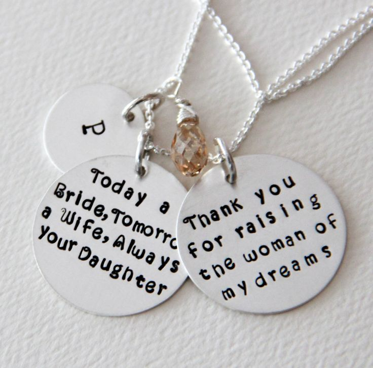 @Matt Silvi Mother of The Bride Necklace, Mother of The Bride Jewelry, Today a Bride Tomorrow a Wife, Necklace, Personalized Pendant, Spring Wedding. $71.00, via Etsy.