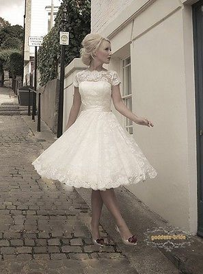 New Custom Size Short Sleeve Knee Length Lace Vintage Short Wedding Dresses 2014