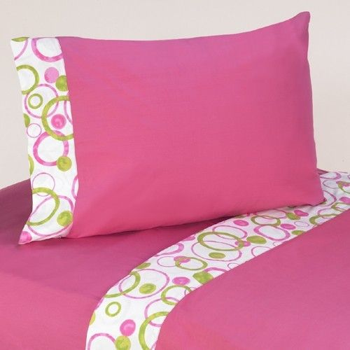 Queen Sheet Set for Circles Hot Pink and Lime Green Bedding Sets - 4pc #KidsRoom #BotiqueBedding