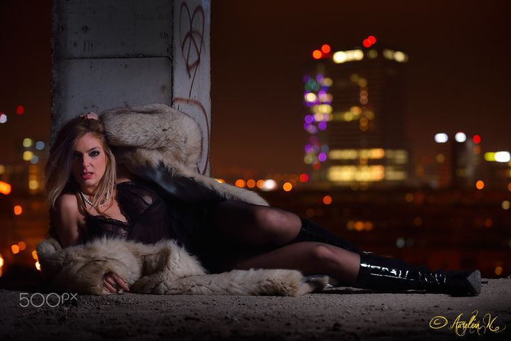 Wanderings - Blonde girl, Corina, in a fur coat playing lust game for photoshoot. Outdoor, at about 3 degrees Celssius ;)