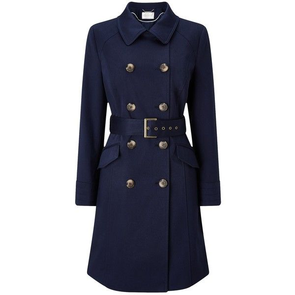 Windsmoor Trench Coat, Navy (780 SEK) ❤ liked on Polyvore featuring outerwear, coats, navy blue coat, navy trench coats, plus size coats, collar coat and women's plus size coats