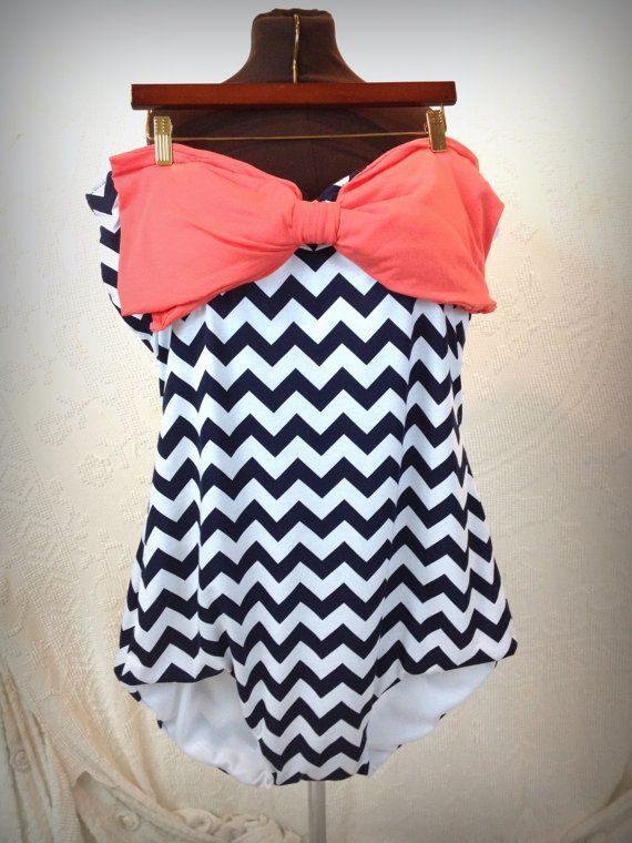 Chevron plus size swimsuit. by ilovesurcees on Etsy