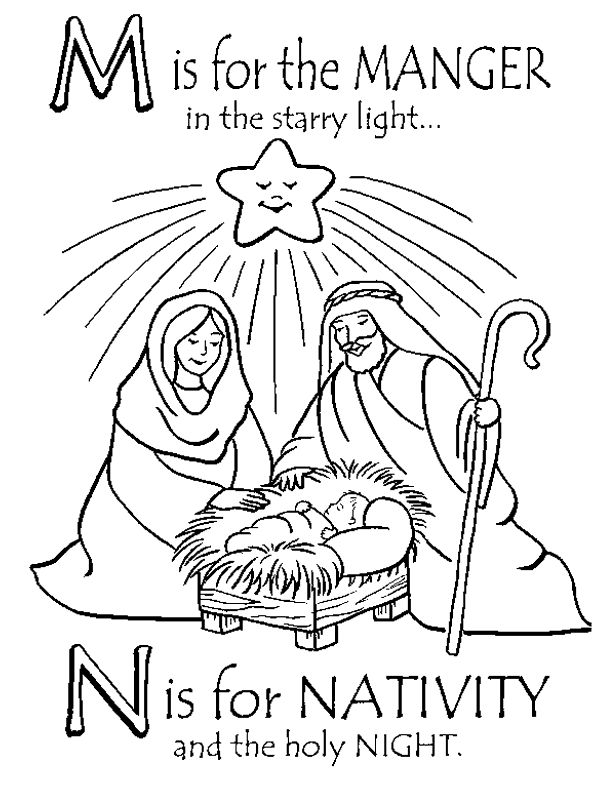 m is for the manger in the starry light n is for christmas nativity - Christmas Nativity Coloring Pages