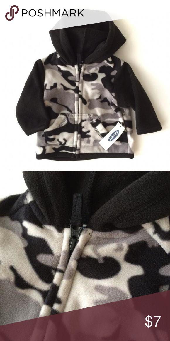 NWT Old Navy Fleece Zip Up Jacket NWT Old Navy fleece zip up jacket with hood. Black hood and sleeves with black camo on the body. Old Navy Shirts & Tops Sweatshirts & Hoodies