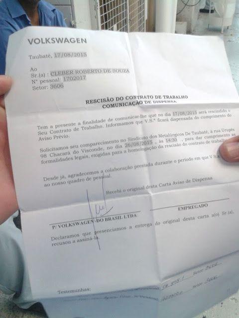 Canadauence TV: Volks em Taubaté SP), envia carta de demissão, met...