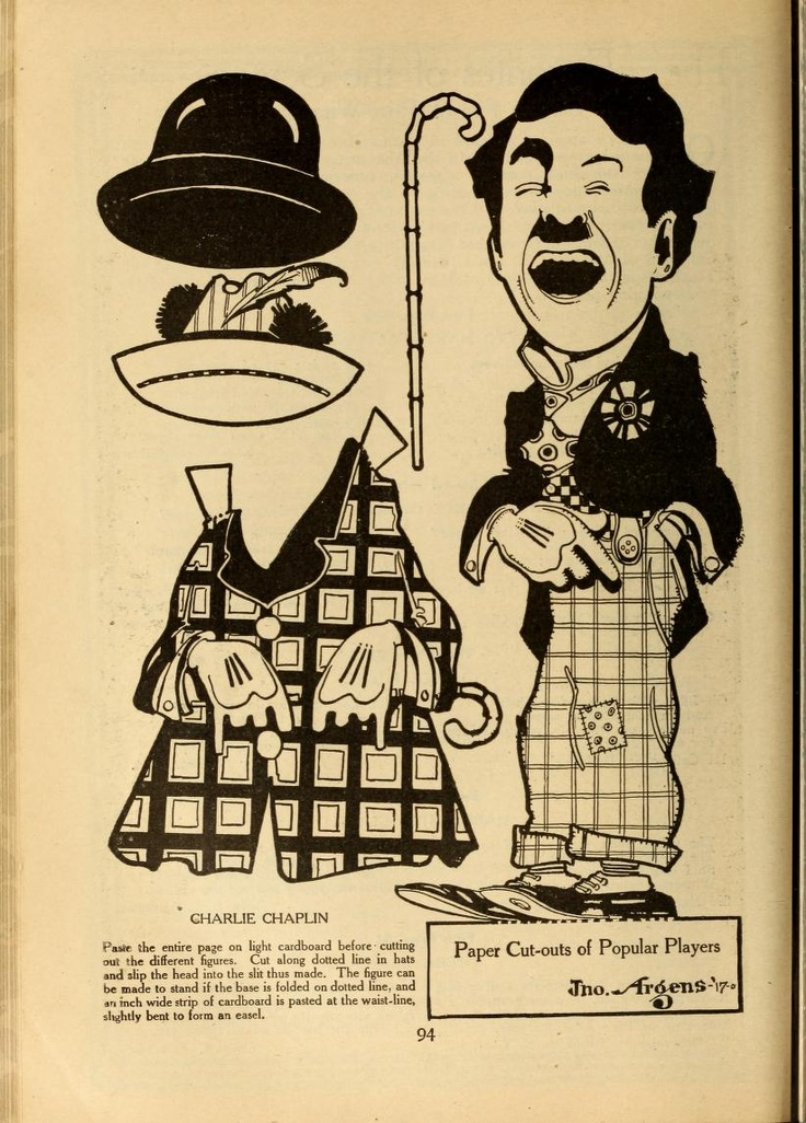Paper doll of Charlie Chaplin from Motion Picture Magazine
