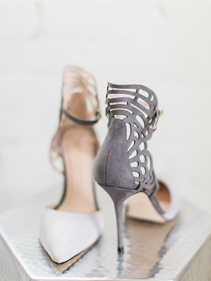 Gray and White Laser Cut Heels