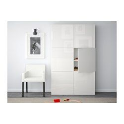 IKEA - BESTÅ, Storage combination with doors, white/Selsviken high-gloss/white, , You can choose to use either the soft-closing or push-open function. The push-opener lets you open the doors with just a light push, while the soft-closing hinges makes sure they close silently and softly.Adjustable shelves, so you can customize your storage as needed.