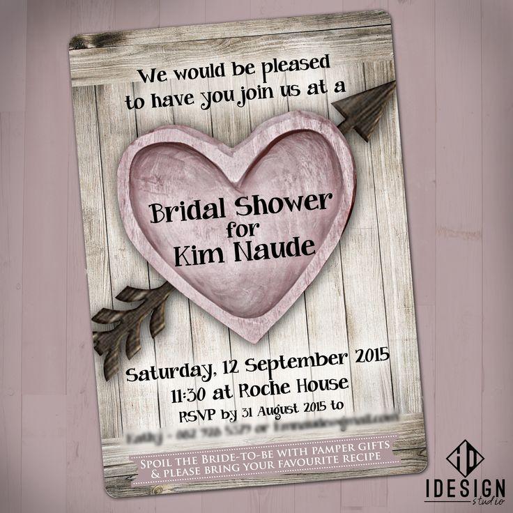 Rustic Pink Bridal Shower Invites
