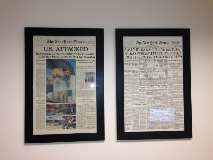 Vintage newspapers on our wall!