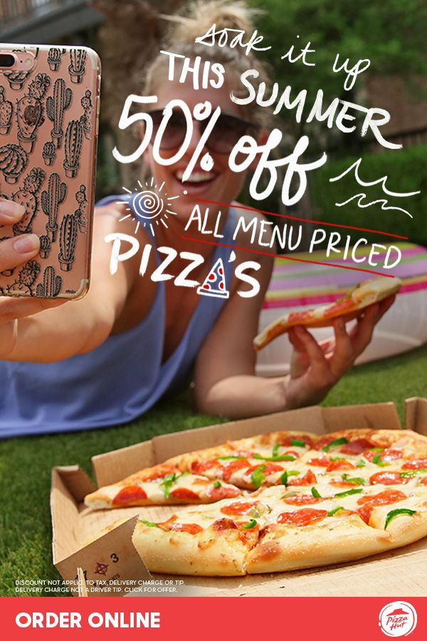Order 50% off menu-priced Pizza Hut pizzas for all of your summer party gatherings! Easily feed the crowd for less with this limited time offer. There's plenty to share with friends and family. Available online only through 7/23.