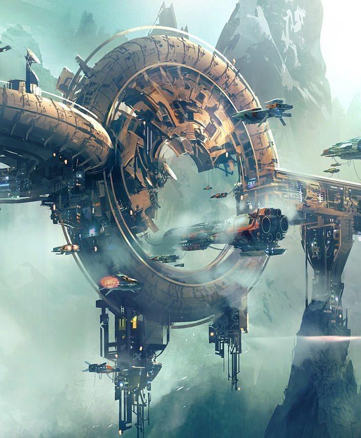 Mid City Port | Sci fi concept art, Science fiction art, Futuristic art