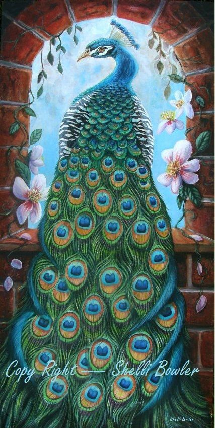 PEACOCK PAINTING Fine Art Giclee 7x12 Print from by Naturetrail, $35.00