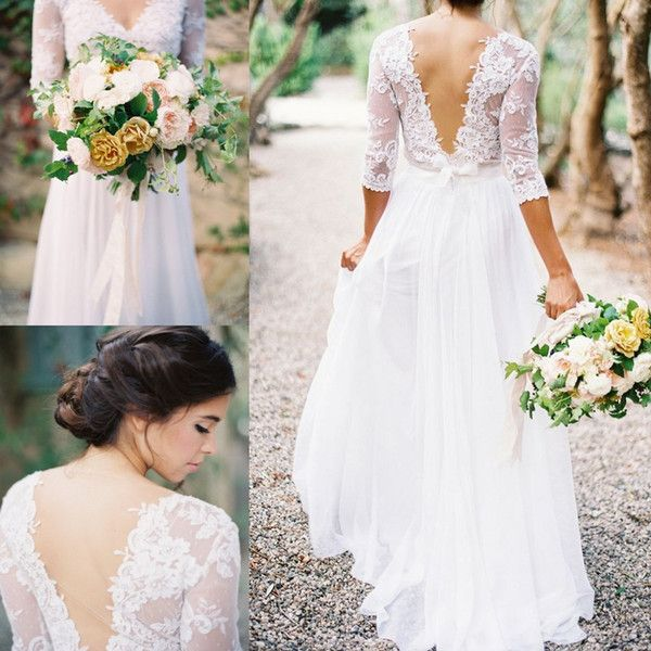 Lace Chiffon Bridal Dresses Boho Lace Dress V-neck 3/4 Long Sleeves Low Back A-line Wedding Dresses With Pleats