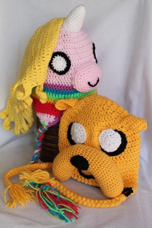 "Jake the dog and his Lady Rainicorn hats from the Cartoon Network show ""Aventure Time"" You can also find more of my crochet makes on facebook. Mistybelle Crochet"