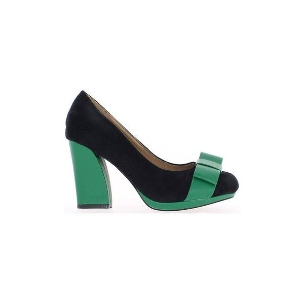 Chaussmoi Shoes women green and black 9cm heel and mini platform Court... ($40) ❤ liked on Polyvore featuring shoes, pumps, black, court shoes, women, high heel pumps, green platform shoes, high heel platform shoes, black pumps and mini pump