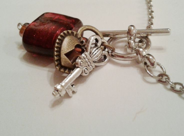 Lock and Key with Red Necklace by RogueUnicornCrafts on Etsy