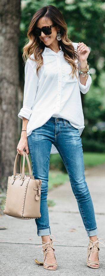 White Oversized Chambray Outfit by Sequins & Things