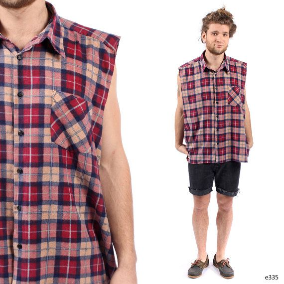 Mens plaid vest vintage flannel shirt sleeveless top for Flannel shirt and vest