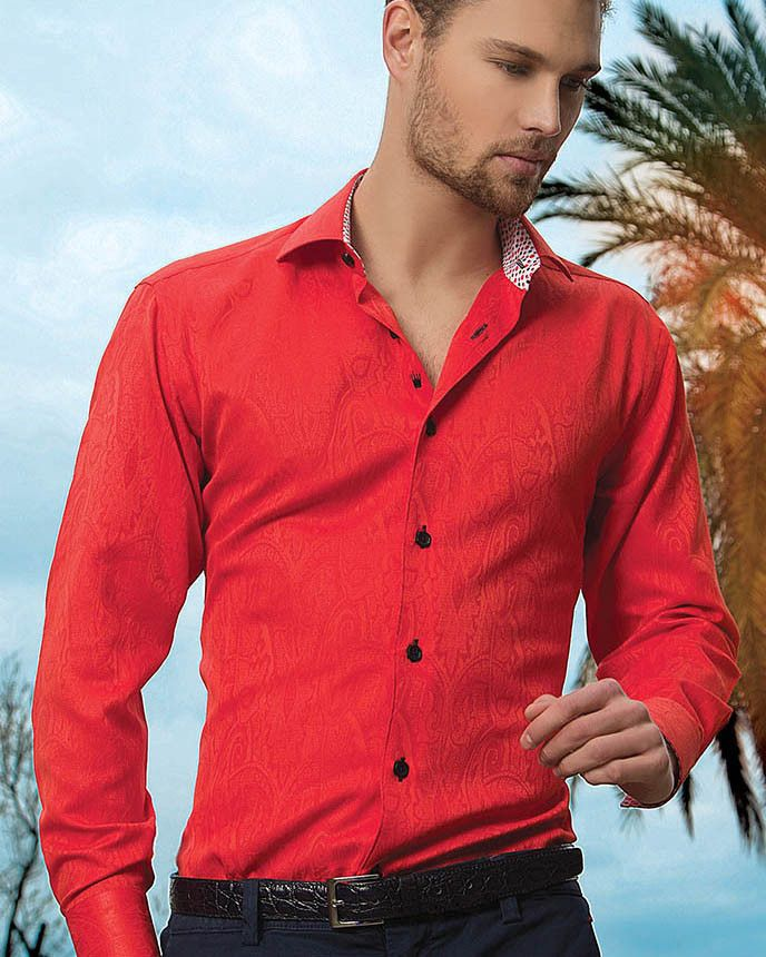 Red designer shirt for men - Bertigo Shirt - Henderson 291