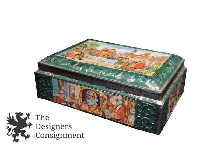 E Otto Schmidt Nürnberg Vintage Hinged Tin Box Made in Germany Cookie Biscuit | The Designers Consignment