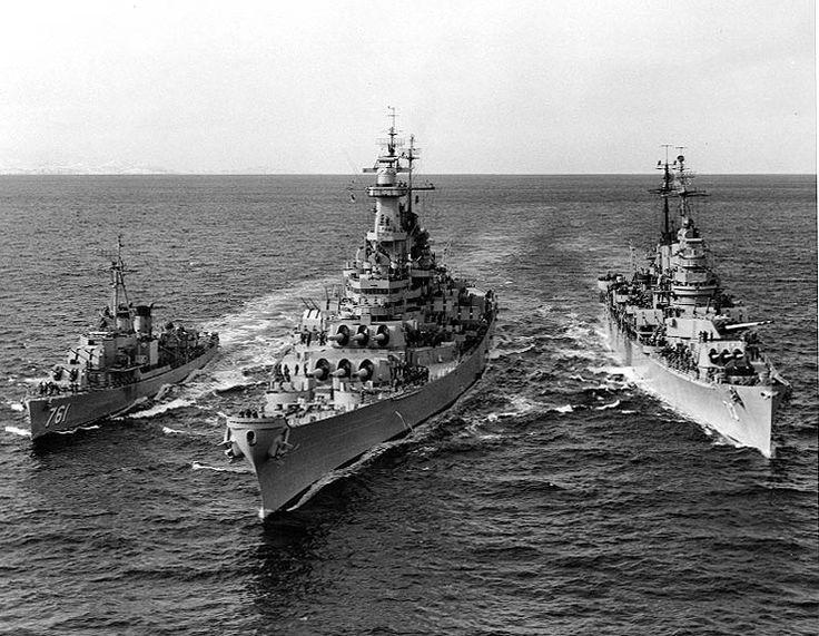 US Navy destroyer Buck, battleship Wisconsin, and heavy cruiser Saint Paul off Korea, 22 Feb 1952, photo 2 of 2