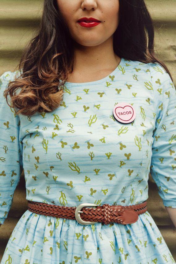 TACOS Candy Love Heart Brooch.