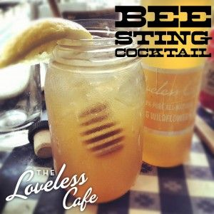 THEME!!! Bee Sting Moonshine Cocktail.  1 tablespoon honey ½ lemon, squeezed 1.5 ounces moonshine Muddle or shake vigorously with ice Add ½ cup iced tea (sweetened or otherwise) Strain over ice and enjoy