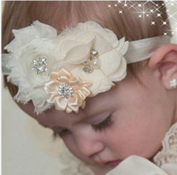 Girls Satin Ribbon Flower Headbands - babybomba