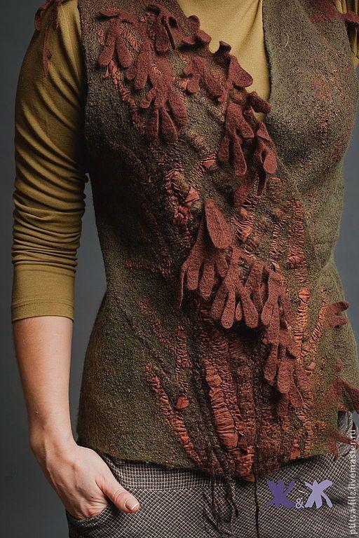 """Купить Жилет """"Лесные деревья"""" - коричневый, рисунок, авторский жилет…"""