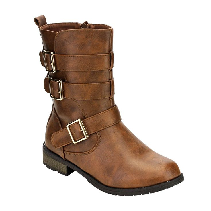 FOREVER GE31 Women's Mid-Calf Multiple Buckles Straps Lug Sole Combat Boots *** Check out the image by visiting the link.