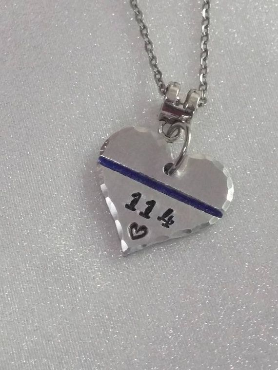 Thin Blue Line Necklace  Police Girlfriend by ExquisiteStampDesign