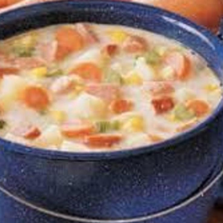 I've tweaked this recipe I found in an herb magazine I once subscribed to.  Since my husband is an avid deer hunter, I sometimes use venison kielbasa. Then we call it 'Buck-Pole Soup'