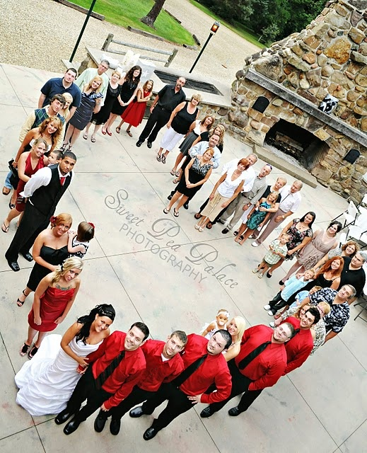 Clever shot for entire wedding party/family